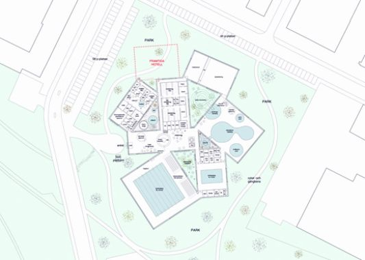 Public swimming pool and spa design by elding oscarson for Swimming pool site plan