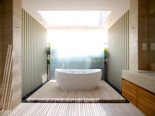 28 west coast grove house renovation bathroom with skylight