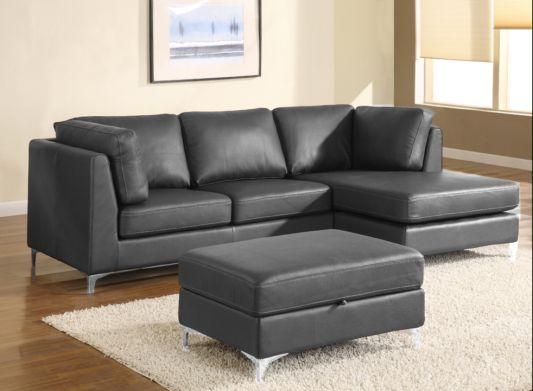 Angelo Leather Sectional Black Color