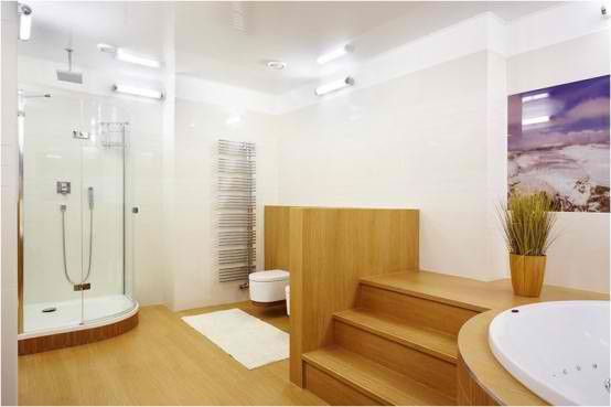 Apartment Interior Design With Wood Floors, bathroom
