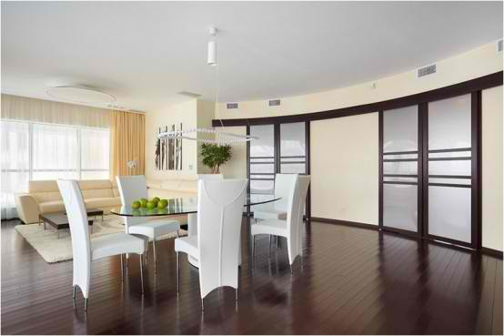 Apartment Interior Design With Wood Floors, dining table