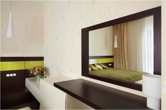Apartment Interior Design With Wood Floors, glass vanity