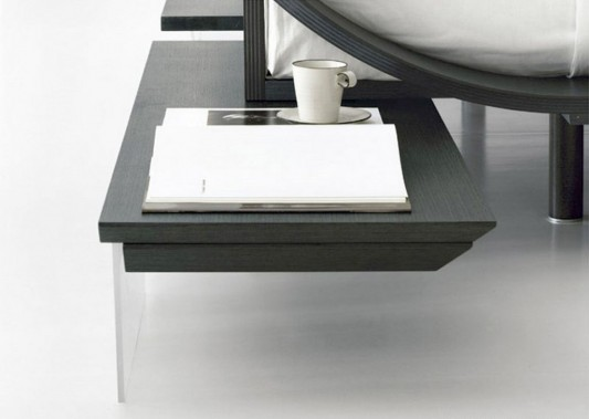 Aqua wooden bed built-in table by presotto