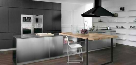 Awesome combination of modern kitchen and the surface of stainless steel timber
