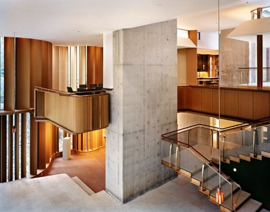Beautiful Integral House by Shim-Sutcliffe Architects beauty curved wooden stairs
