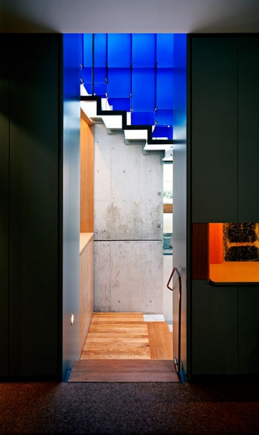 Beautiful Integral -House by Shim-Sutcliffe Architects blue glass fence stairs
