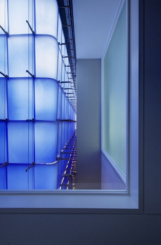 Beautiful Integral House by Shim-Sutcliffe Architects blue glass light effect