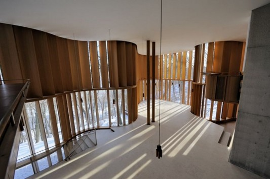Beautiful Integral House by Shim Sutcliffe Architects curved wooden windows