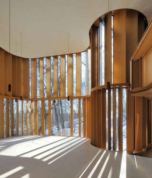 Beautiful Integral House by Shim-Sutcliffe Architects vertical wooden fin