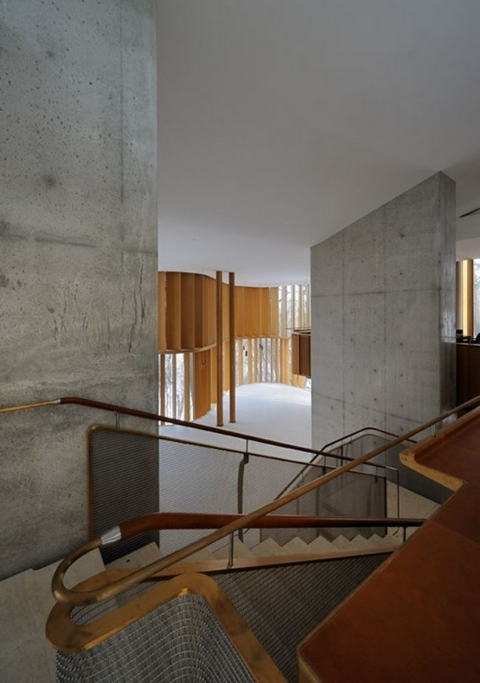 Beautiful Integral House by Shim-Sutcliffe Architects warped wooden stairs design