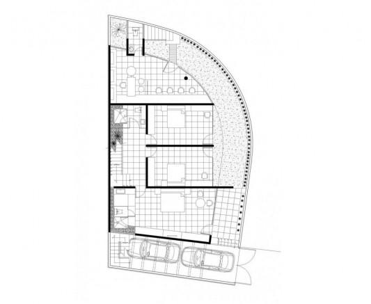 Beautiful Minimalist M-House drawing plan top view