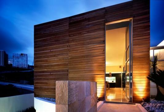 Beautiful Minimalist M-House exterior artistic lighting