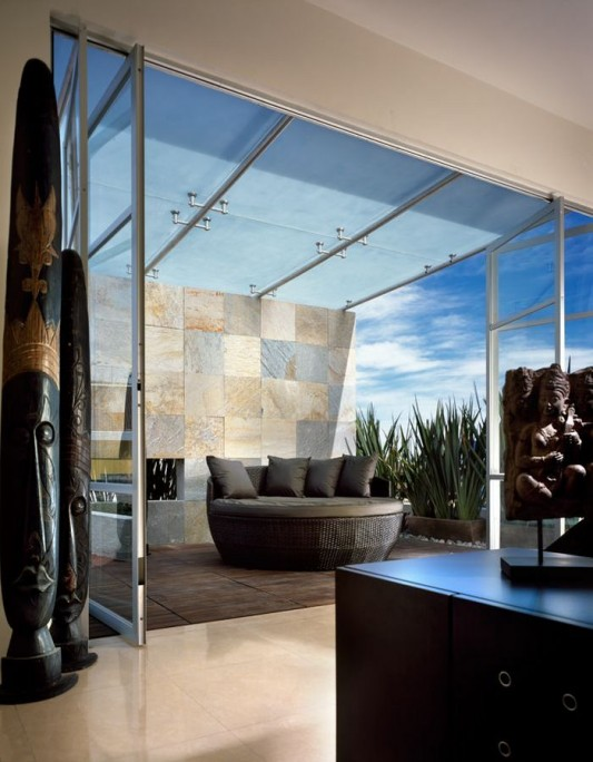 Beautiful Minimalist M-House semi outdoor patio design