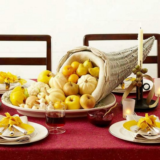 Beauty and natural Cornucopia Thanksgiving Centerpiece decorating design
