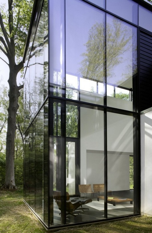 Black And White Minimalist House Design black glass windows