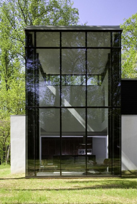 Black And White Minimalist House Design large transparent black windows