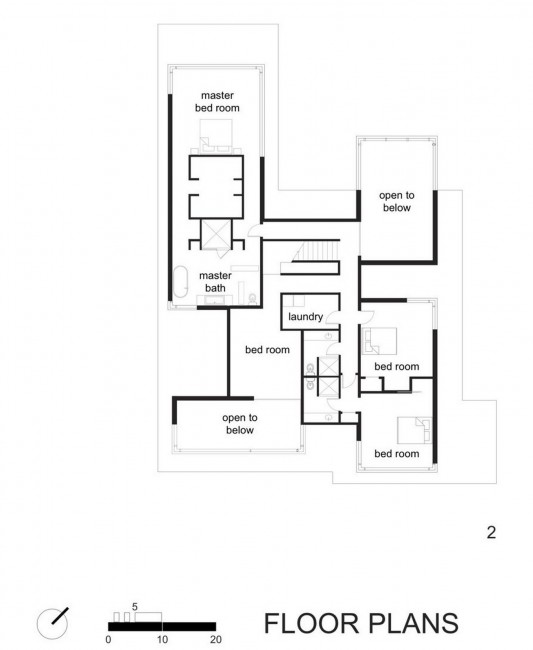 Black And White Minimalist House Design second floor plans