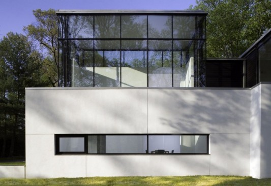 Black And White Minimalist House Design wall and glass windows