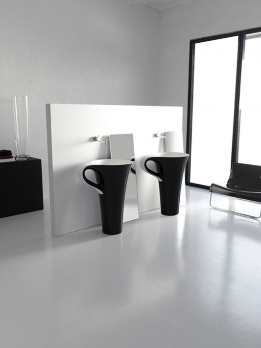 Black ceramic free standing basin cup by artceram