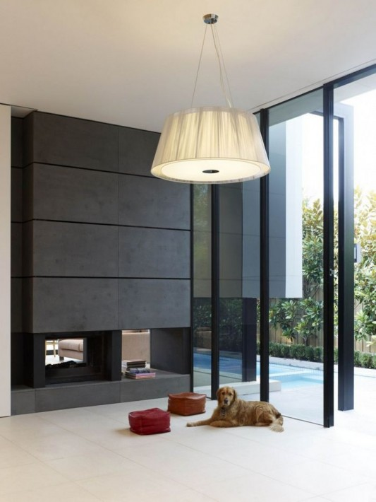 Bold Rectilinear Modern House Design interior partition and lamps