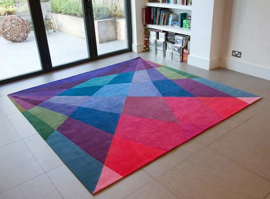 Colored inspirational rugs with geometric shape