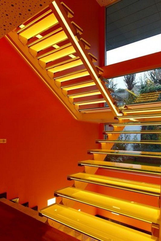 Colorful House Ideas Yazgan Design Architecture beautiful stair with lighting