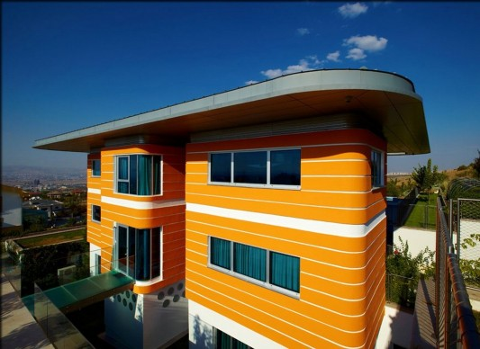 Colorful House Ideas Yazgan Design Architecture exterior orange wall color