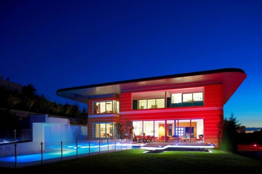 Colorful House Ideas Yazgan Design Architecture exterior with LED light