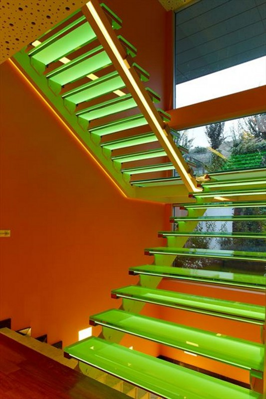 Colorful House Ideas Yazgan Design Architecture stair lighting