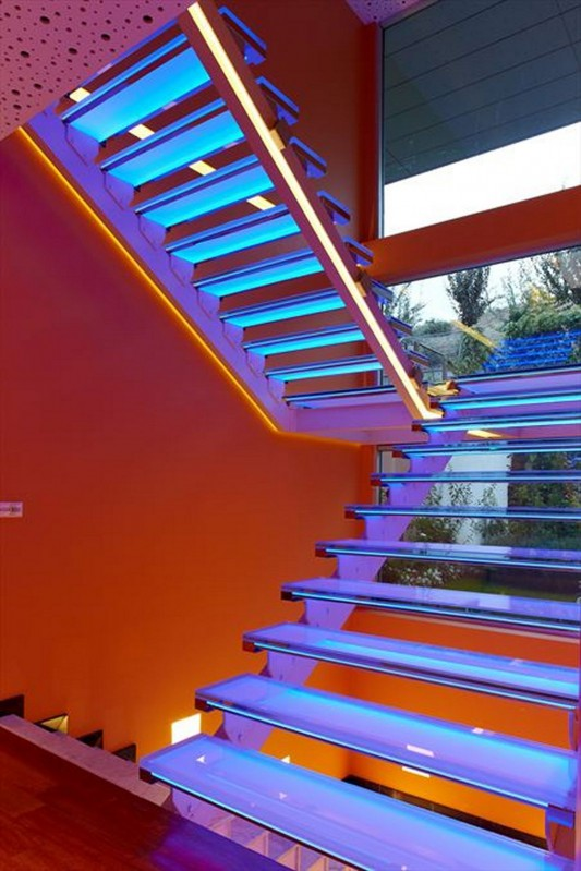 Colorful House Ideas Yazgan Design Architecture wonderful stair LED lighting