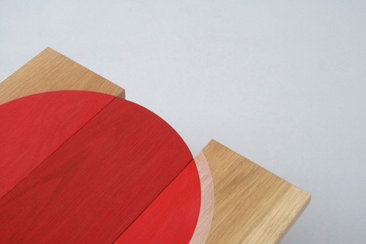 Colour Me Red abstrac wooden table detailed