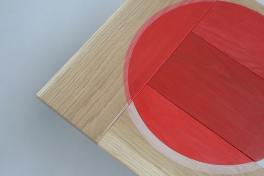 Colour Me Red wooden table top colored