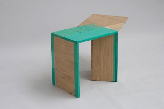 Colour Me Green abstrac wooden table design