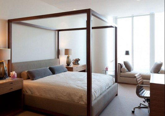 Comfortably Luxurious Penthouse in Fairmont Building canopy bed design