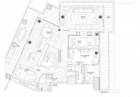 Comfortably Luxurious Penthouse in Fairmont Building design plan