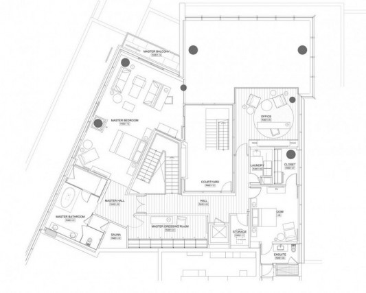 Comfortably Luxurious Penthouse in Fairmont Building drawing plan