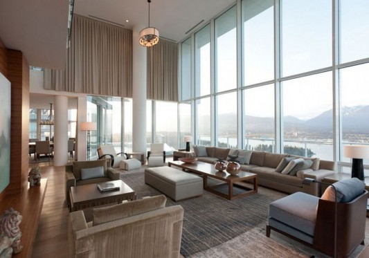 Comfortably Luxurious Penthouse in Fairmont Building interior living room