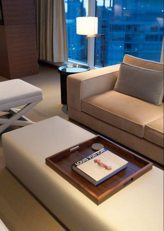 Comfortably Luxurious Penthouse in Fairmont Building sofa and table