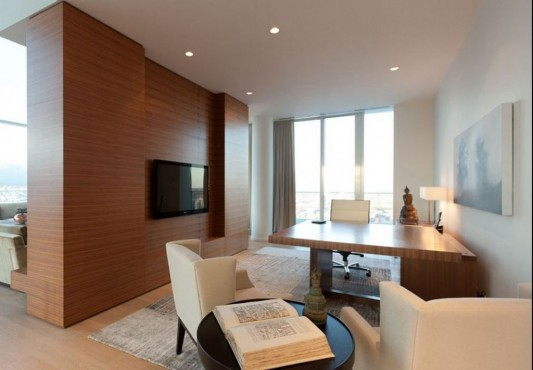 Comfortably Luxurious Penthouse in Fairmont Building wooden partition