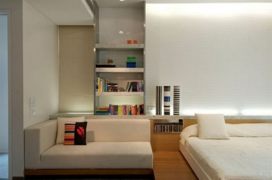 Completely Contemporary home remodel bedroom lounge sofa