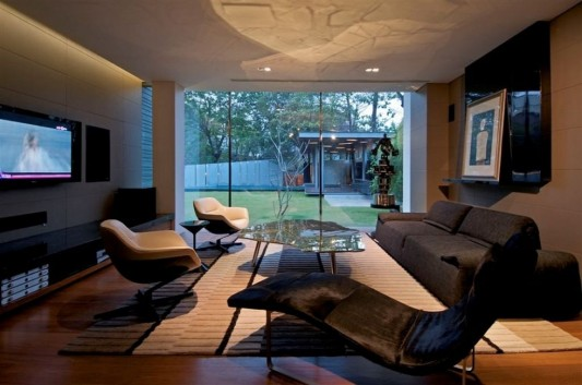 Completely Contemporary home remodel luxury living room and garden