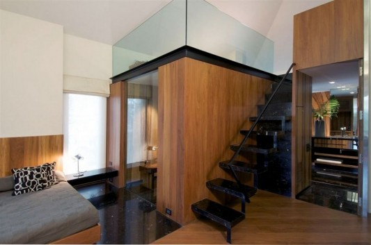 Completely Contemporary home remodel metal stairs design