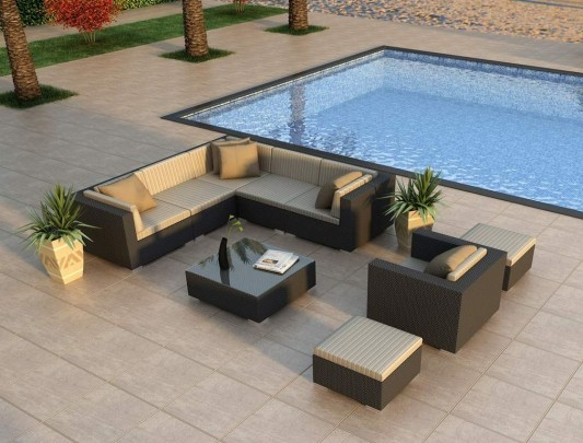 Contemporary All Weather Wicker Outdoor Furniture Set