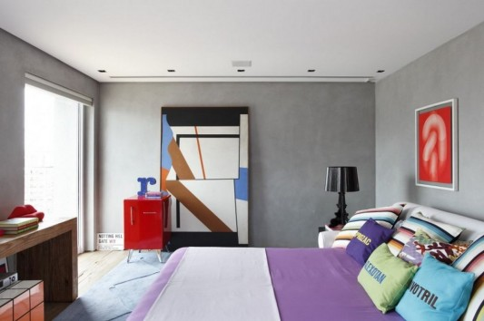 Contemporary Duplex Penthouse Interior redesign colorful bedroom