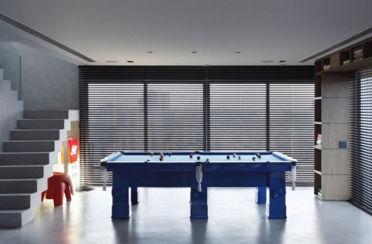 Contemporary Duplex Penthouse Interior redesign cool and beautiful pool table