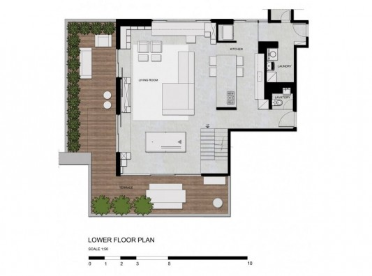 Contemporary Duplex Penthouse Interior redesign lower floor plan