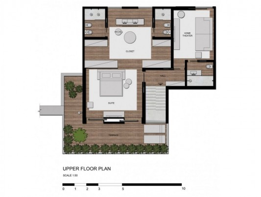Contemporary Duplex Penthouse Interior redesign upper floor plan