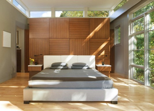 Contemporary Lakefront Residence by Moore Architects master bedroom