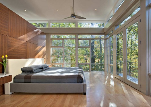 Contemporary Lakefront Residence by Moore Architects naturally bedroom design