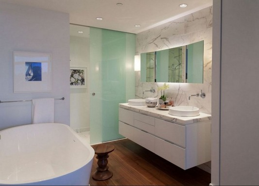 Contemporary Silversea Residence by Robert Bailey elegant white bathroom